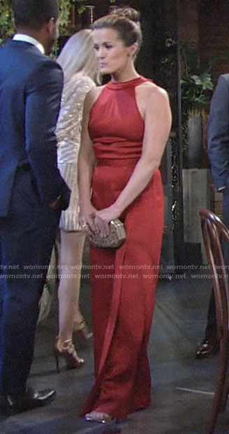 Chelsea's red ribbon tie back jumpsuit on The Young and the Restless