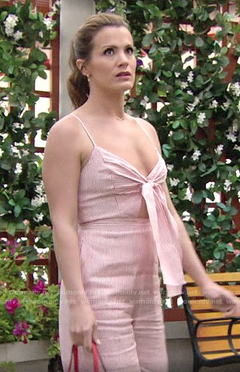 Chelsea's red striped tie-front jumpsuit on The Young and the Restless