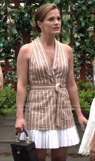 Chelsea's brown striped pleated hem dress on The Young and the Restless