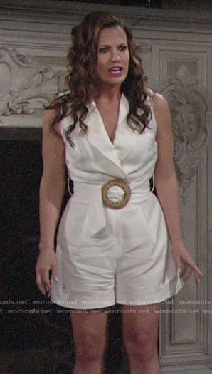 Chelsea's white belted romper on The Young and the Restless
