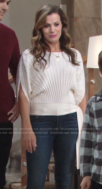 Chelsea's white side tie sweater on The Young and the Restless