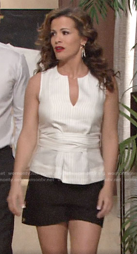 Chelsea's white striped top and side button shorts on The Young and the Restless