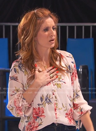 Chelsea's pink floral v-neck blouse on Ravens Home