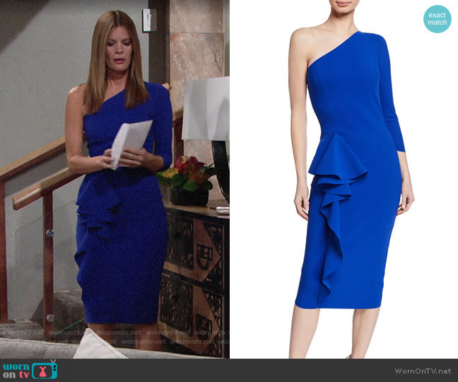 Chiara Boni La Petite Robe One-shoulder Asymmetric-ruffle Dress worn by Phyllis Summers (Michelle Stafford) on The Young & the Restless