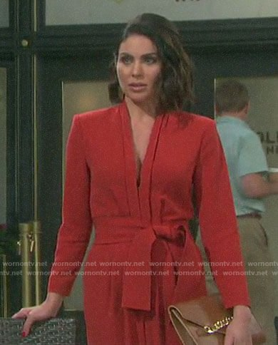 Chloe's orange v-neck jumpsuit on Days of our Lives