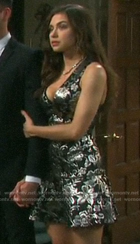 Ciara's metallic floral dress on Days of our Lives