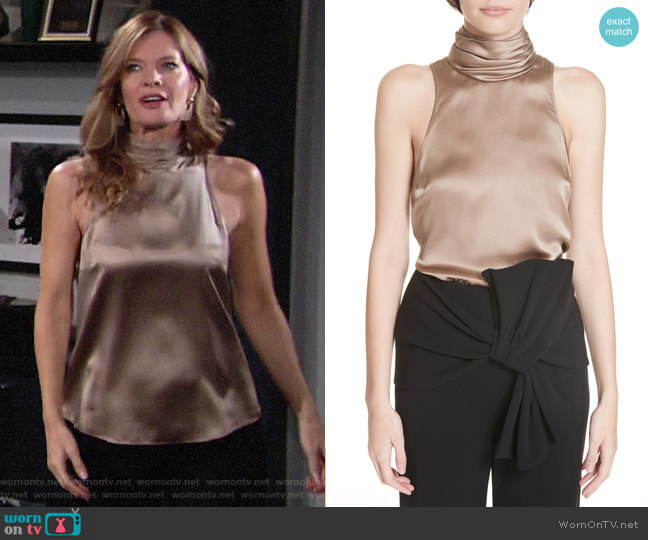 Cinq a Sept Jazlyn Top worn by Phyllis Summers (Michelle Stafford) on The Young & the Restless