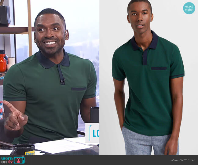 Welt Pocket Polo by Club Monaco  worn by Justin Sylvester  on E! News