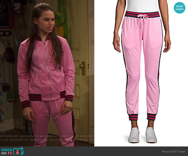 Contrast Stripe Track Pants by American Stitch worn by Tess O'Malley (Sky Katz) on Ravens Home