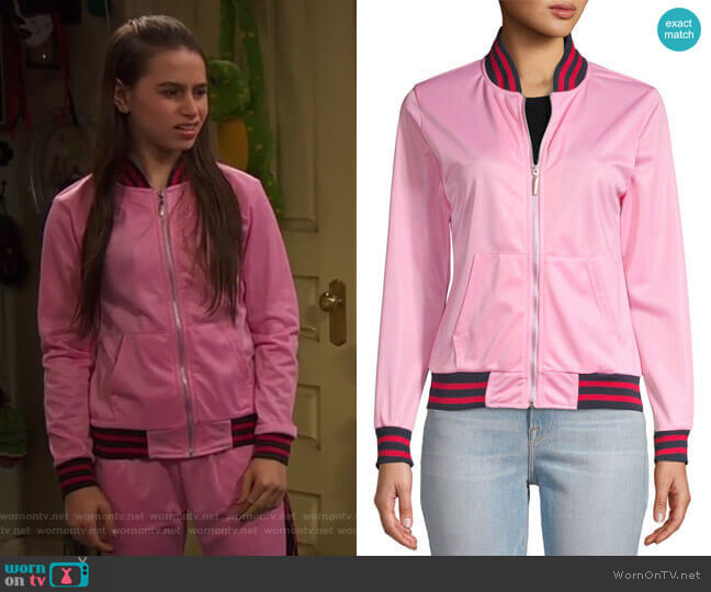 Contrast-Trimmed Bomber Jacket by American Stitch worn by Tess O'Malley (Sky Katz) on Ravens Home