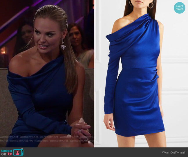 Asymmetric Hammered-Satin Mini Dress by Cushnie worn by Hannah Brown  on The Bachelorette