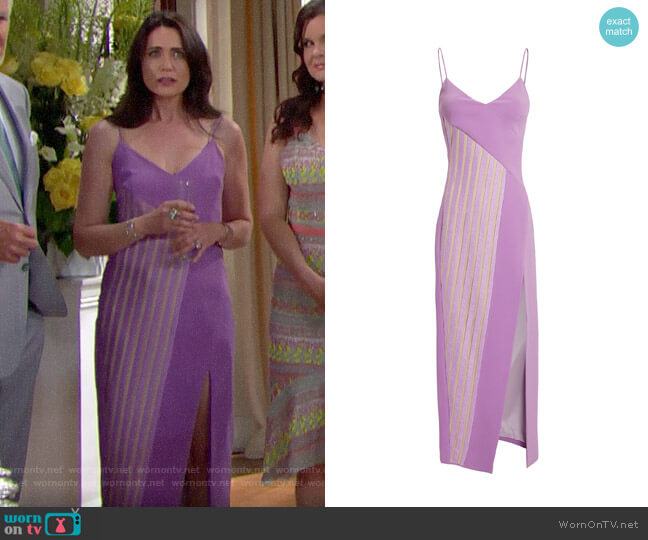 David Koma Macrame Panel Asymmetric Midi Dress worn by Quinn Fuller (Rena Sofer) on The Bold & the Beautiful