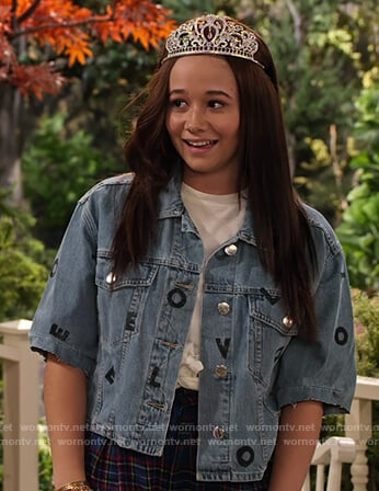 Jade's love letters print denim jacket on Family Reunion