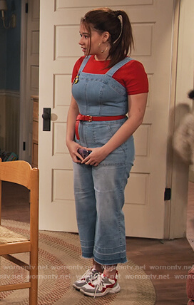 Jade's denim overalls on Family Reunion