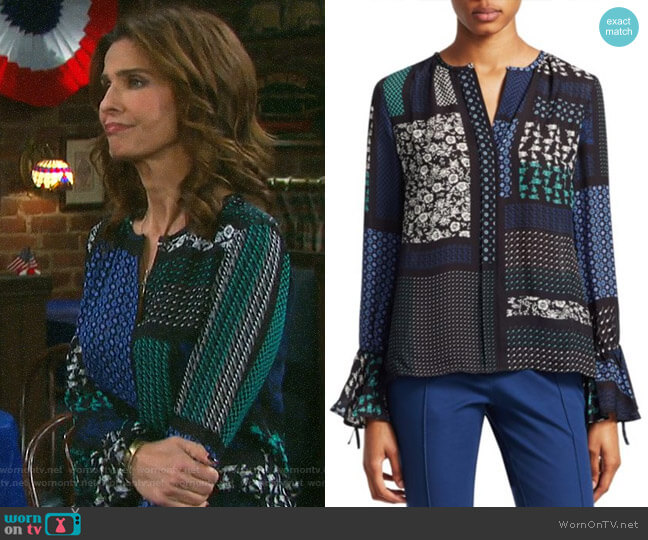 Derek Lam Floral Patchwork-Print Silk Blouse worn by Hope Williams (Kristian Alfonso) on Days of our Lives