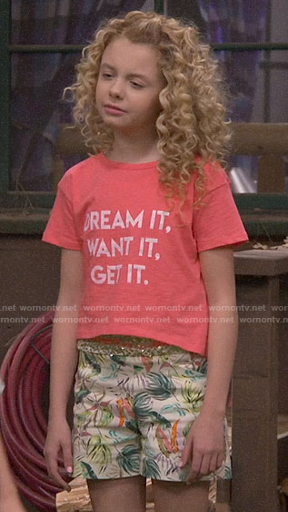 Destiny's DREAM IT WANT IT GET IT t-shirt and tropical print shorts on Bunkd