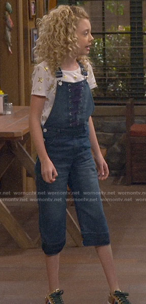 Destiny's lace-up front denim overalls on Bunkd