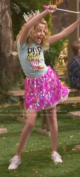 Destiny's POP tee and pink sequin skirt on Bunkd