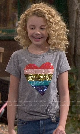 Destiny's sequin heart tee on Bunkd