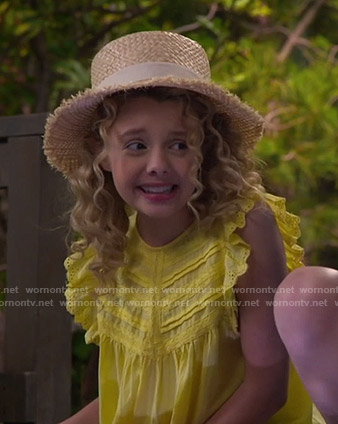 Destiny's yellow ruffled eyelet top on Bunkd