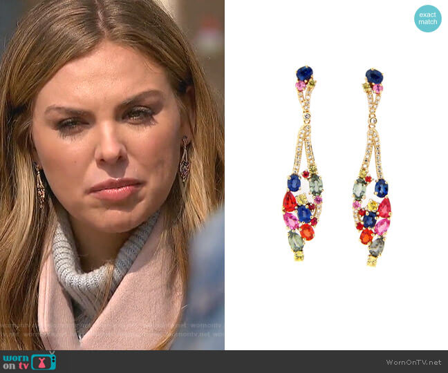 Rainbow Sapphire & Diamond Drop Earring by Dilamani worn by Hannah Brown  on The Bachelorette
