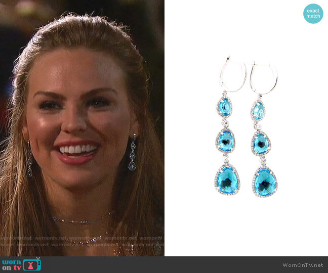 Swiss Blue Topaz & Diamond Drop Earring by Dilamani worn by Hannah Brown  on The Bachelorette