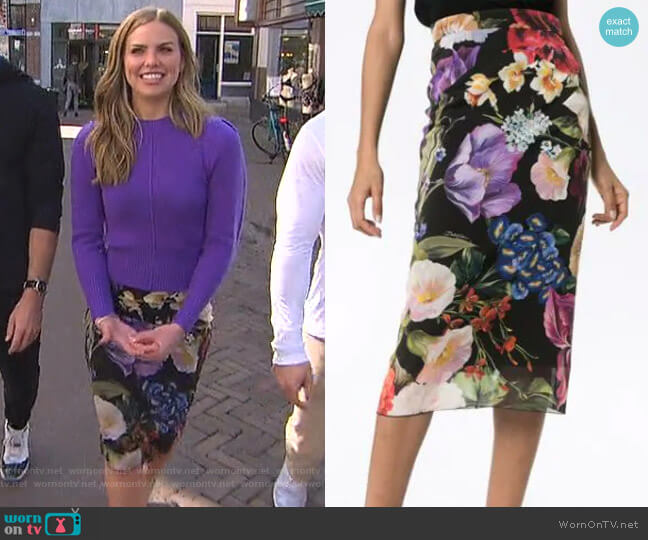 Floral Print Stretch-Silk Pencil Skirt by Dolce & Gabbana worn by Hannah Brown  on The Bachelorette