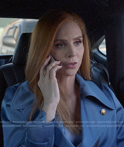 Donna's blue satin trench coat on Suits