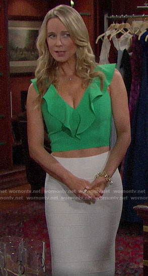 Donna's green ruffled crop top and white bandage skirt on The Bold and the Beautiful