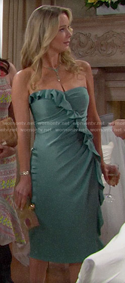 Donna's green ruffled dress at Hope's wedding on The Bold and the Beautiful