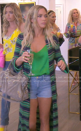 Teddi's green striped long cardigan on The Real Housewives of Beverly Hills