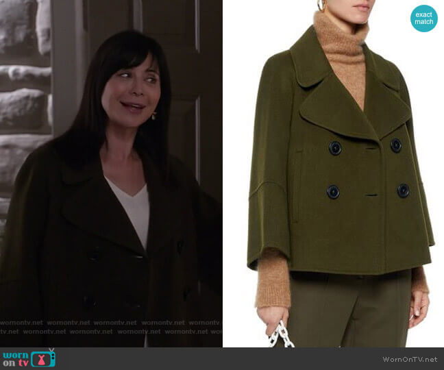 Double-Breasted Wool-Felt Coat by Elie Tahari worn by Cassandra Nightingale (Catherine Bell) on Good Witch