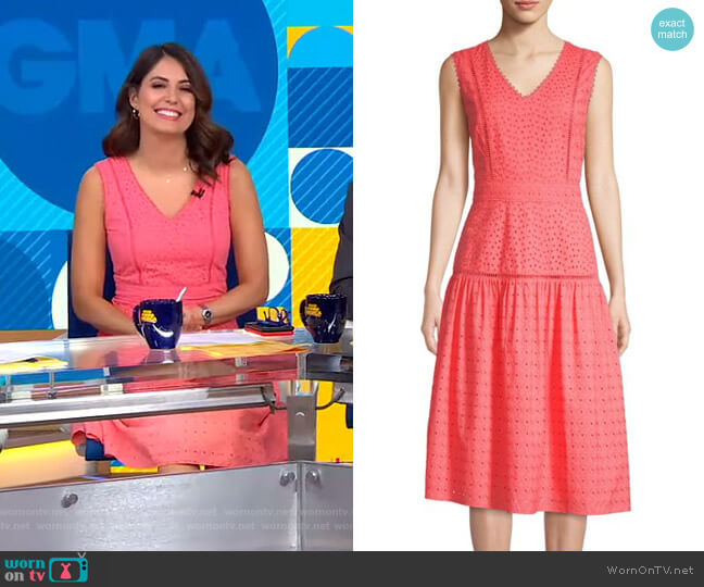 Cotton Eyelet Midi Dress by Draper James worn by Cecilia Vega  on Good Morning America