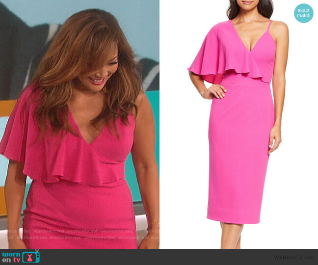 Beth Asymmetrical Ruffle Sleeve Dress by Dress the Population worn by Carrie Inaba  on The Talk