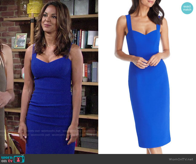 Dress the Population Nicole Dress in Electric Blue worn by Celeste Rosales (Eva LaRue) on The Young & the Restless