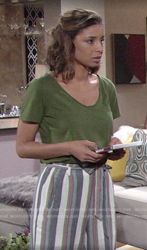 Elena's striped paperbag waist pants on The Young and the Restless
