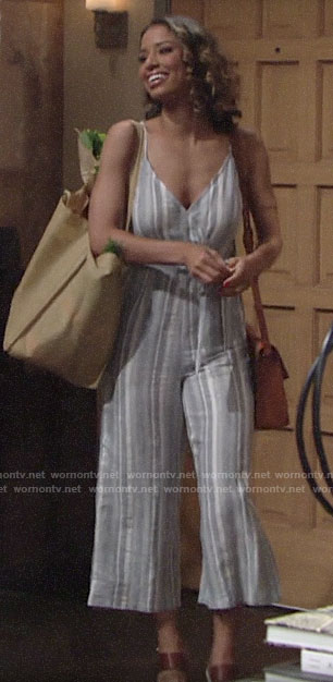 Elena's striped jumpsuit on The Young and the Restless