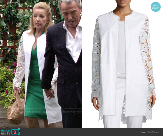 Elie Tahari Canvas & Lace Long Topper Jacket worn by Nikki Reed Newman (Melody Thomas-Scott) on The Young & the Restless