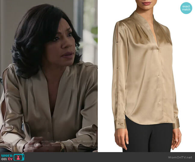 Diya Blouse by Elie Tahari worn by Helen Parker (Wendy Raquel Robinson) on Grand Hotel