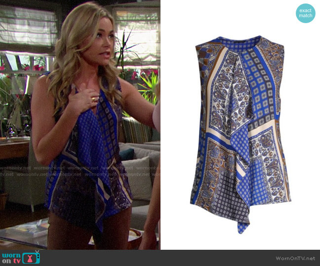 Elie Tahari Pernilla Front Ruffle Print Blouse worn by Shauna Fulton (Denise Richards) on The Bold & the Beautiful