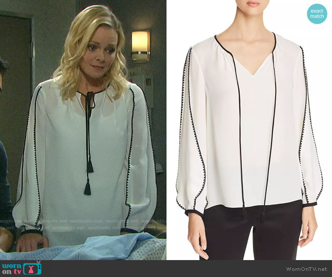 Elie Tahari Ariel Blouse worn by Belle Brady (Martha Madison) on Days of our Lives