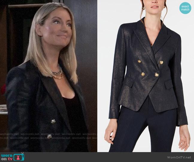 Elie Tahari Jezebel Metallic Blazer worn by Nina Reeves (Cynthia Watros) on General Hospital