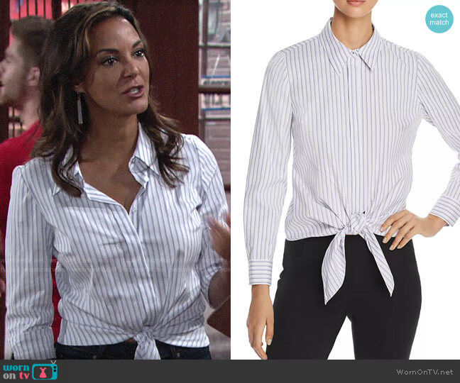 Elie Tahari Katarina Striped Tie-Front Shirt worn by Celeste Rosales (Eva LaRue) on The Young & the Restless