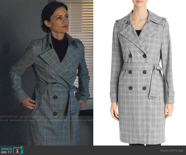 Elie Tahari Watson Plaid Trench Coat worn by Daisy Kowalski (Carla Gugino) on Jett