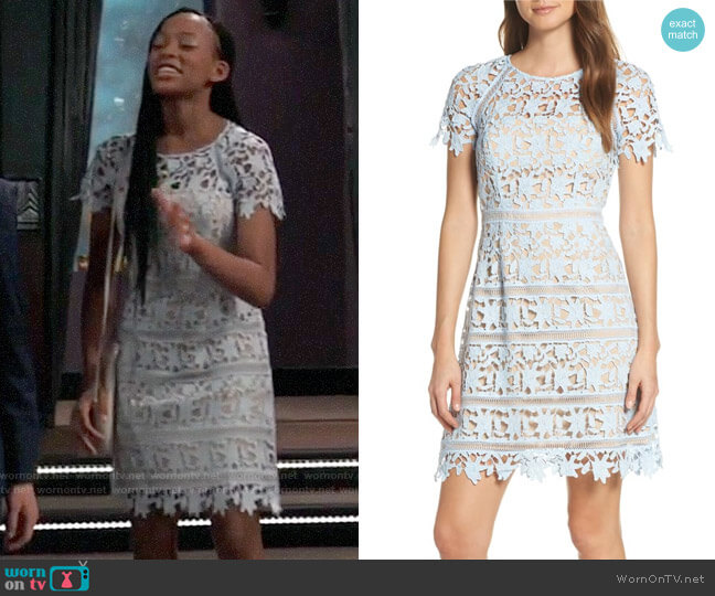 Eliza J Open Lace Dress worn by Trina (Sydney Mikayla) on General Hospital