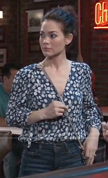 Elizabeth's navy daisy print top on General Hospital