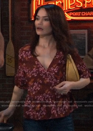 Elizabeth's red floral and butterfly print top on General Hospital
