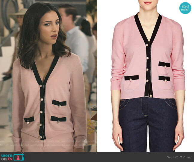 Embellished Knit Cashmere Cardigan by Barneys New York worn by Alicia Mendoza (Denyse Tontz) on Grand Hotel