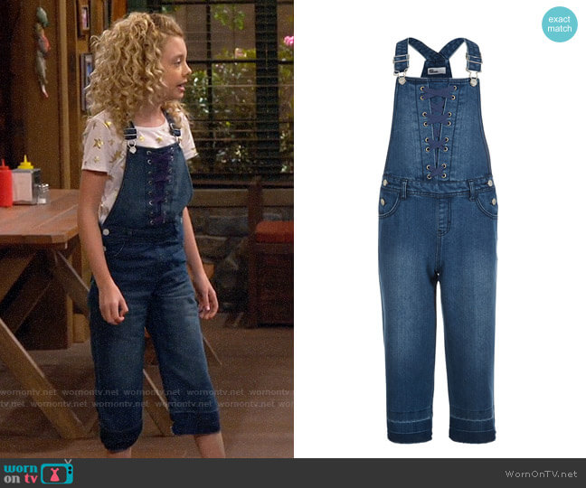 Epic Threads Big Girls Lace-Up Denim Overalls worn by Destiny Baker (Mallory James Mahoney) on Bunkd