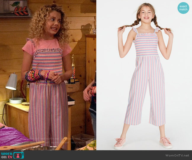 Epic Thread Smocked Striped Jumpsuit worn by Destiny Baker (Mallory James Mahoney) on Bunkd